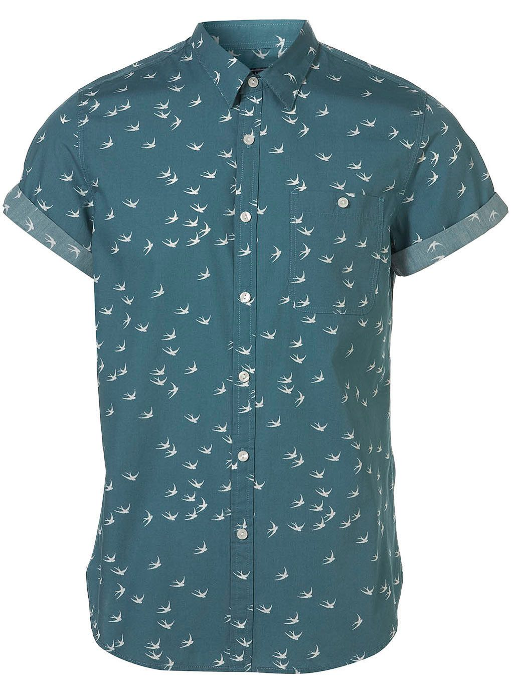 5acc5a48ac4b Topman Green Swallow Pattern Short Sleeve Shirt in Green for Men | Lyst  Mens Printed Shirts
