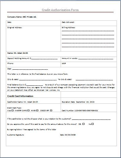 Credit Authorization Form Microsoft Templates Pinterest - sample loan contract templates