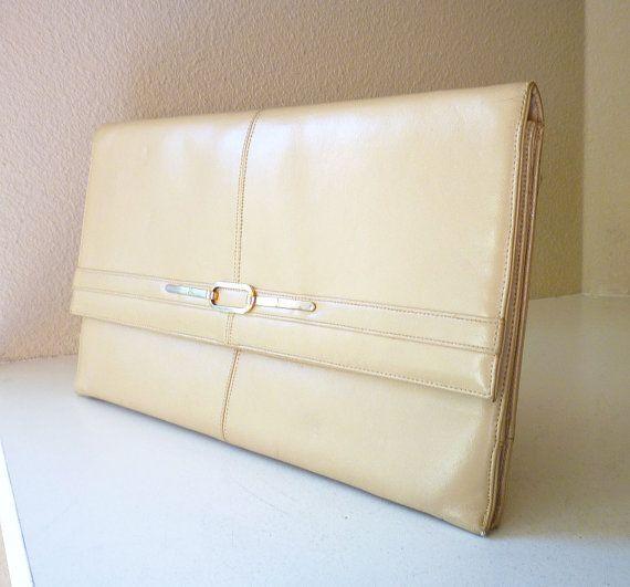 Lou Taylor Clutch Italy Taupe Vinyl Modernist Vintage Handbag