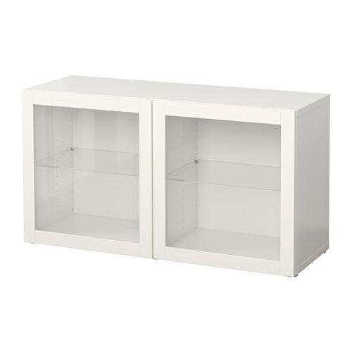 BESTÅ Shelf Unit With Glass Doors   Sindvik White, 47 1/4x15 3/