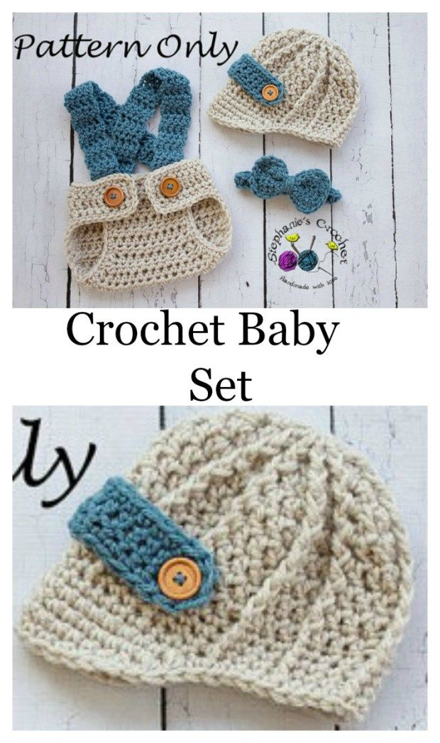 Crochet Baby Set Pattern - Bow Tie, Hat And Diaper Cover | Pinterest ...