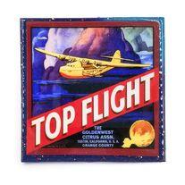 Handmade Coaster Top flight Brand - Vintage Citrus Crate Label - Handmade Recycled Tile Coaster