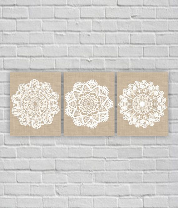Instant Download Gray And White Lace Doilies Wood Set Of 3 Etsy Printable Art Prints Lace Doilies Digital Wall Art