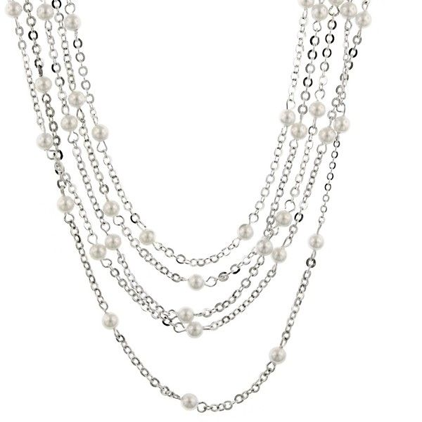 Lovely Layers. Stunning strands of polished silver cable chains are sprinkled with creamy white cultura pearls for an added look of luxe. Created for our Signature 1928 Collection.