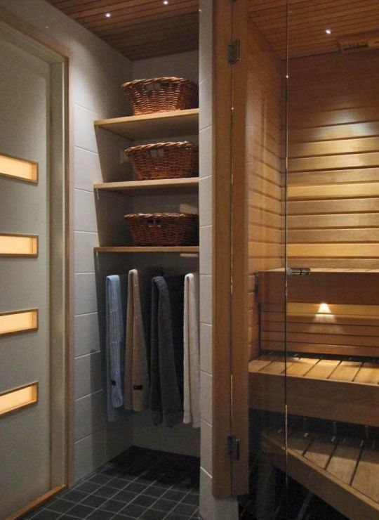 Bathroom Sauna And Steam Room: For The Basement: Sauna Prep Area Adjacent To A New Powder