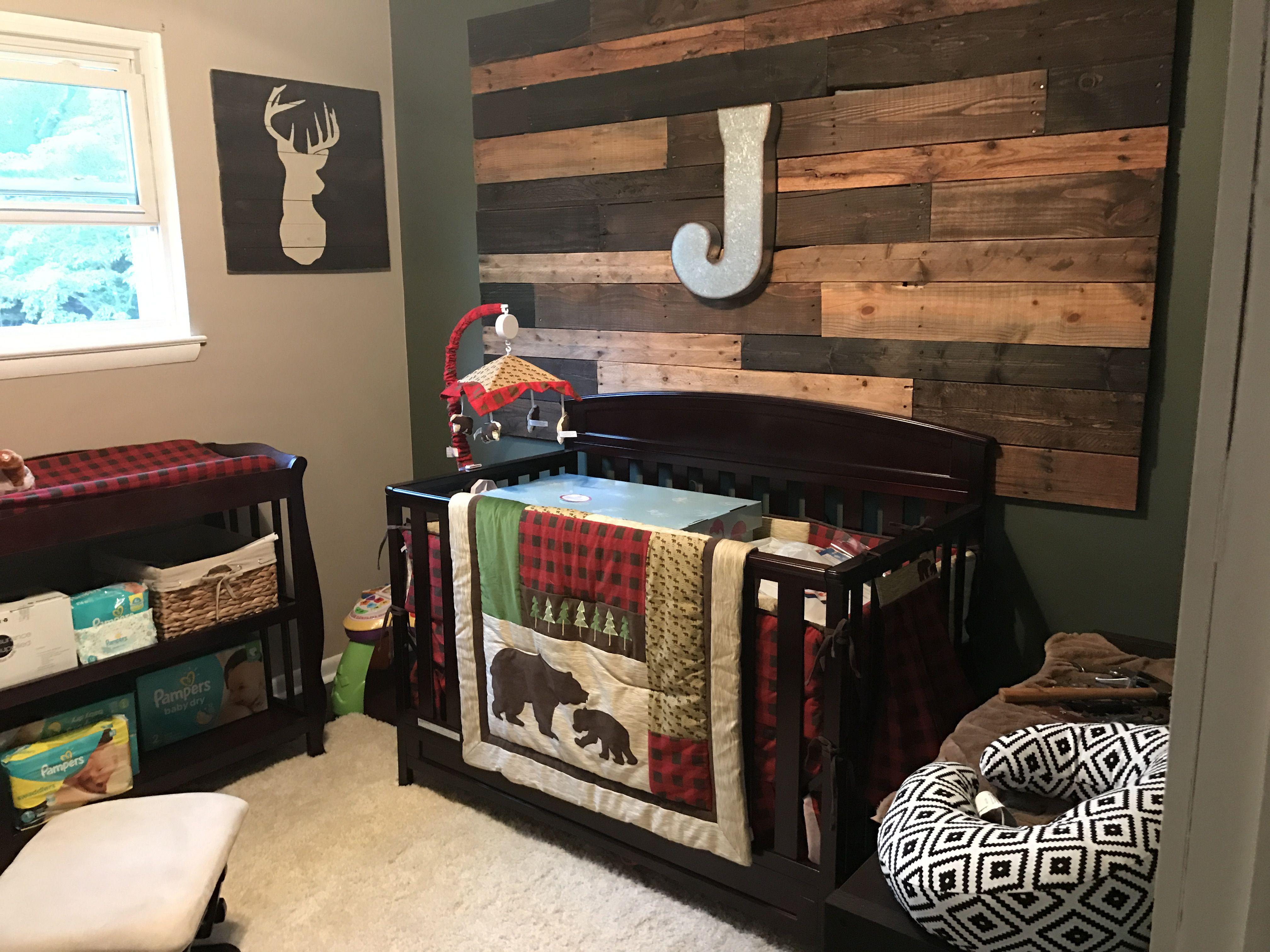 Lumberjack Baby Room Wood Wall Plaid Nursery Baby Boy