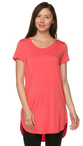 8e252225a6739 PLUS SIZE CORAL Modal Short Sleeve Circle Hem Tunic Top 1X Bust 40-44