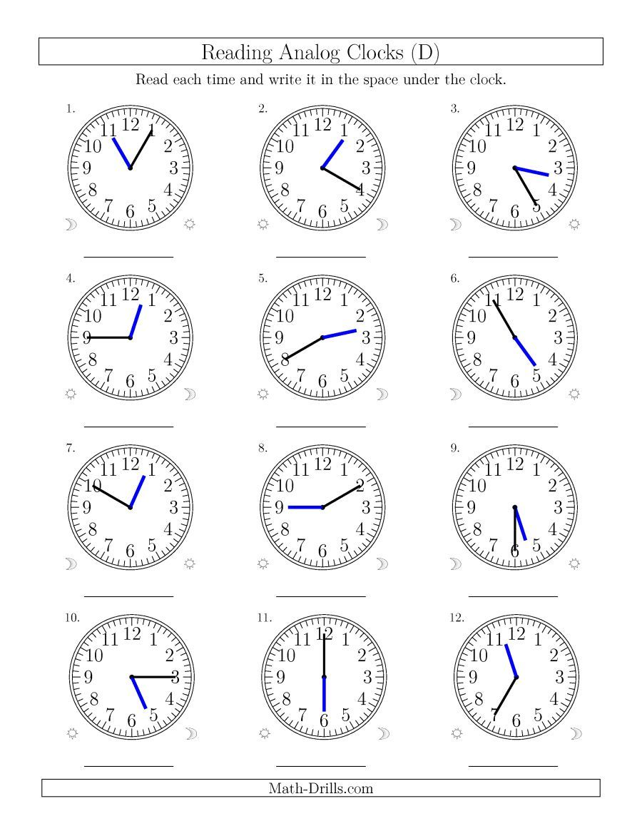 The Reading Time on 12 Hour Analog Clocks in 5 Minute Intervals (D ...