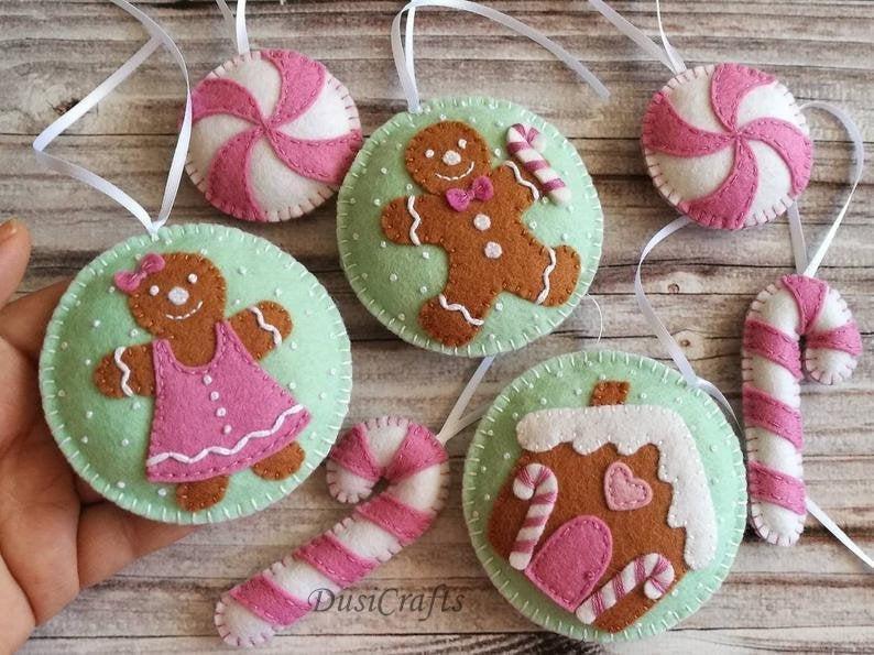 SET of Felt Gingerbread ornaments, Gingerbread man Christmas ornament, Gingerbread house Christmas decor, Xmas decoration