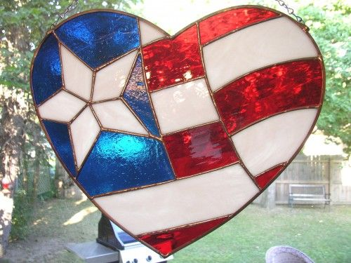 Stained Glass Panel Red White Blue Heart Flag Red White And