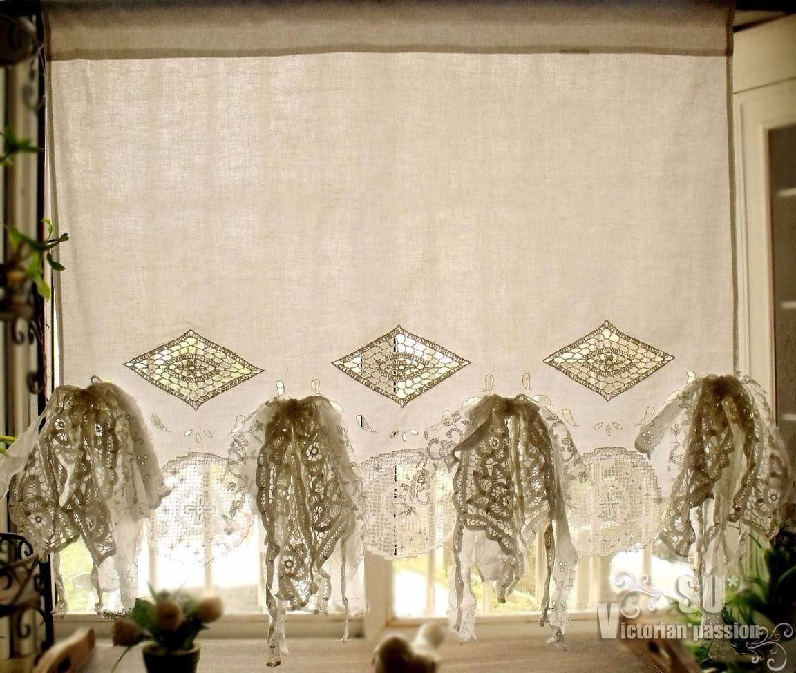 French Country Fringes Shabby Chic Vtg Lace Kitchen Cafe Curtain Crochet  Whiteu2026