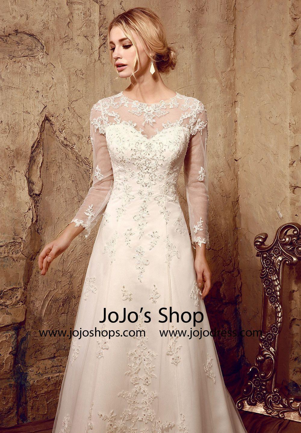 Vintage style lace long sleeves wedding dress with keyhole back