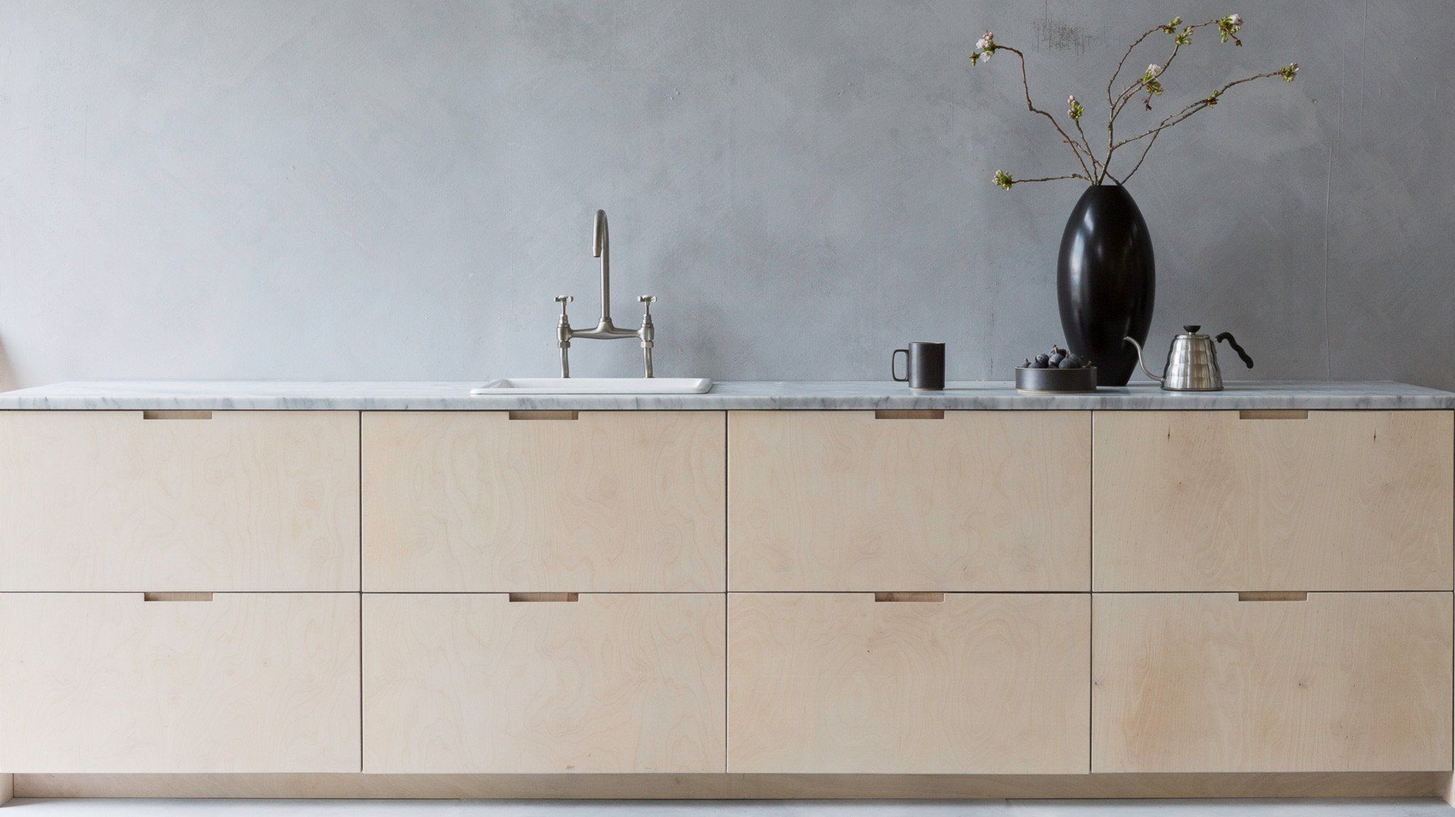 Bespoke,custom made, scandi style painted, plywood, hardwood kitchen ...