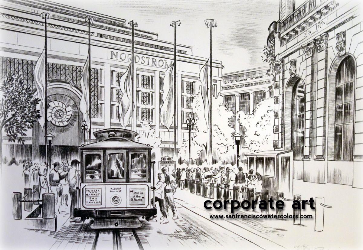 Corporate Art Pencil Drawing San Francisco Cable Car @sfwatercolors ...