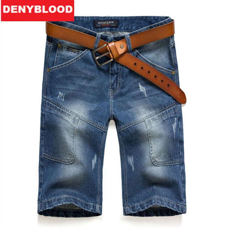 e9f463f535df 2016 Summer Mens Cotton Denim Shorts Distressed Jeans Ripped Capris Mulit  Pockets   Seams Casual Short