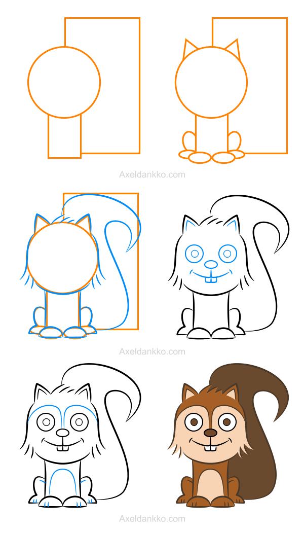 How to draw a squirrel comment dessiner un cureuil - Ecureuil a dessiner ...