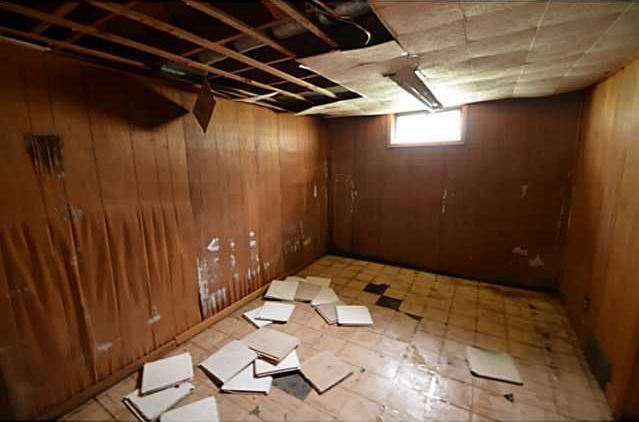 Water Damage Wood Paneling Warped Ruined Ceiling Tiles Fallen Down Fixer Upper Des Moines Iowa Home House For Sale Real Estate House Wood Paneling Water Damage