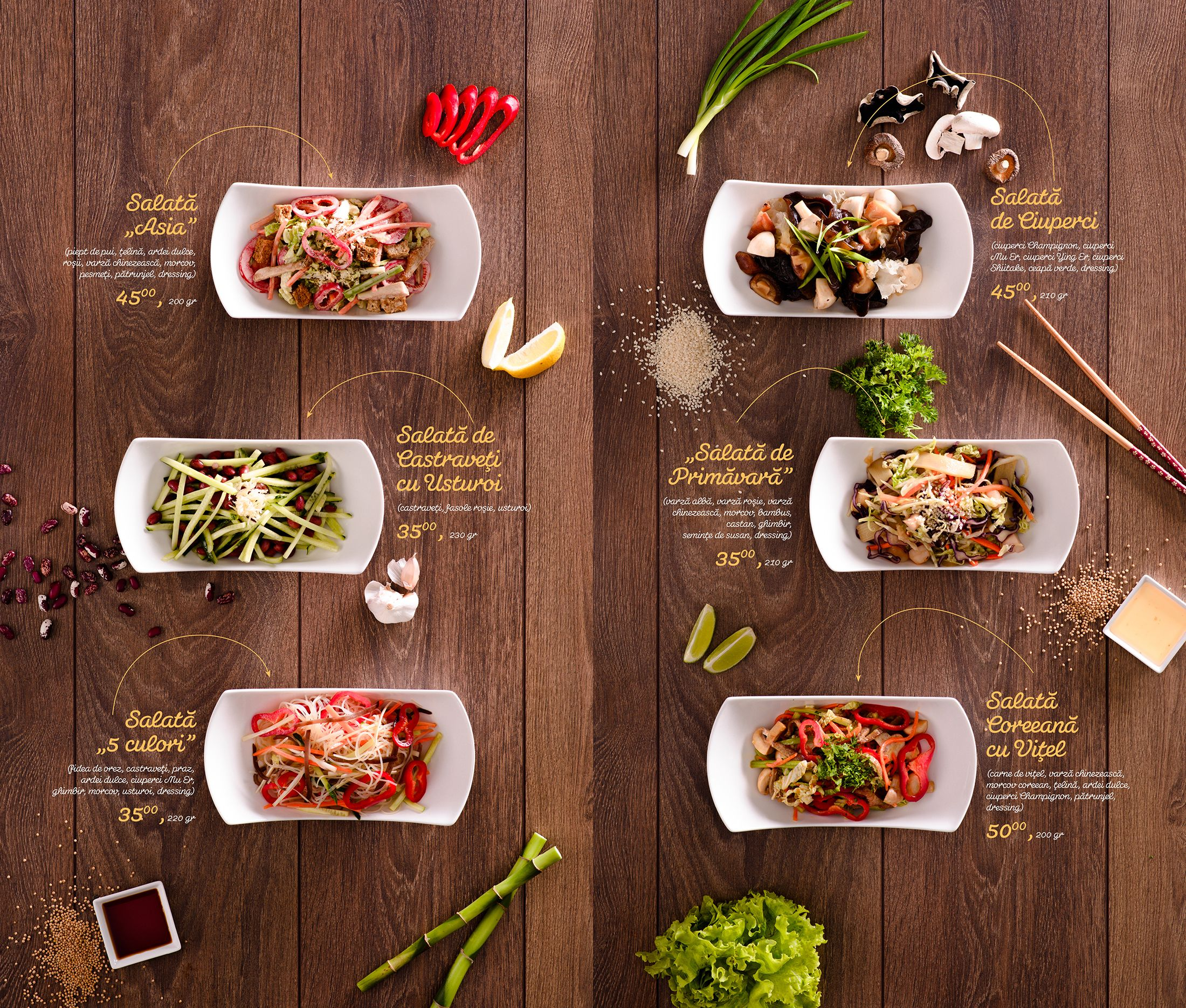 Key Visual, food styling and menu design for Asian House