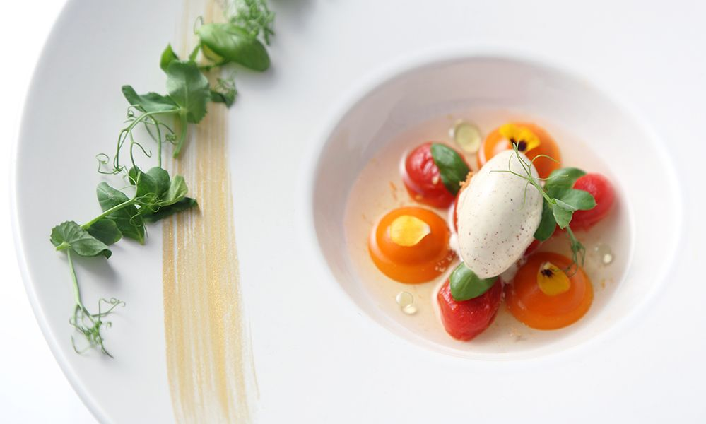 Ode to Tomatoes | Panna cotta, confit, crisp, consommé and gelée, pommery mustard ice cream by chef Vicky Lau. - See more at: http://theartofplating.com/editorial/qa-vicky-lau-on-the-harmony-of-food-art/#sthash.wtVto9i5.dpuf