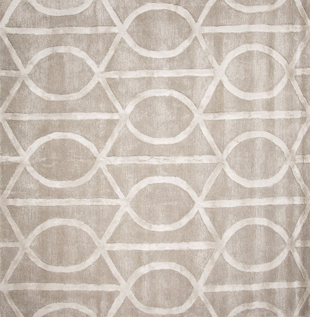 Jaipur Rugs Modern Geometric Pattern Taupe/Ivory Wool And Art Silk Area Rug  CT14 (