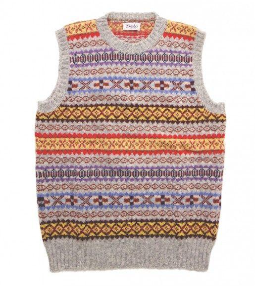 Sleeveless Shetland Wool Fairisle Crew Neck Pullover - Knitwear ...