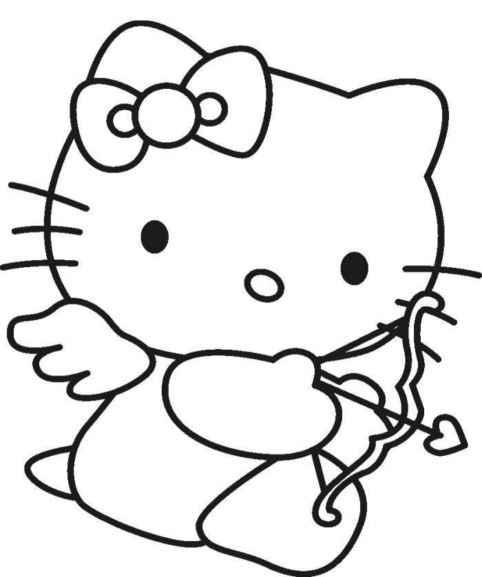 Hello Kitty Heart Coloring Pages : Hello kitty is being hold doll coloring page