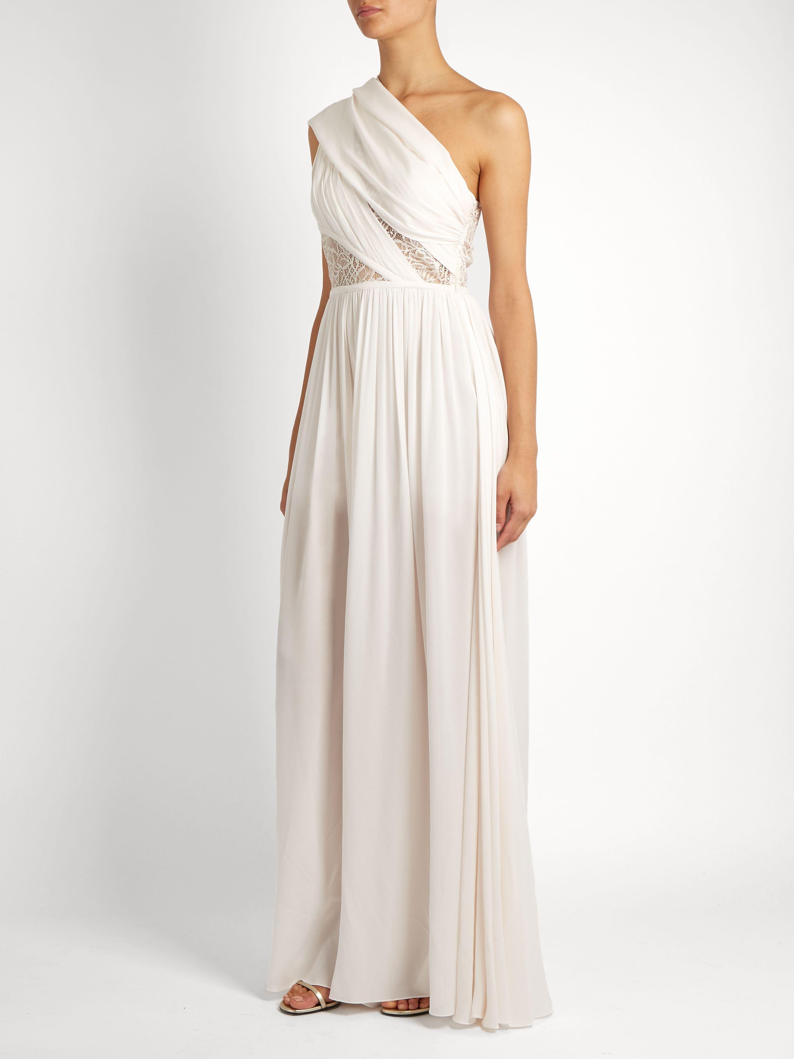 One-shoulder lace-insert silk-blend jumpsuit | Elie Saab | MATCHESFASHION.COM