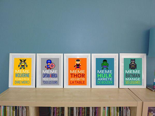 5 affiches super h ros avec citations pour enfant divers en 2018 pinterest chambre - Deco chambre super heros ...