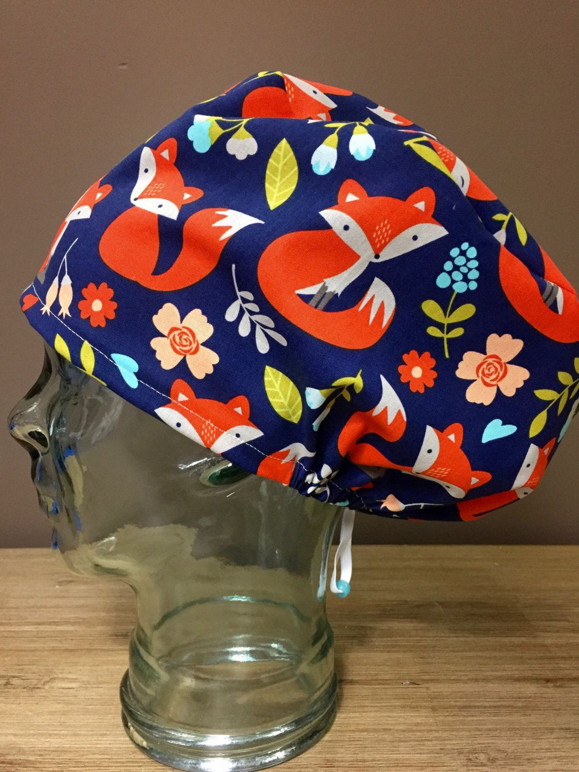 24506b73622a2 Adorable Foxes on Navy Modified Bouffant Surgical Cap