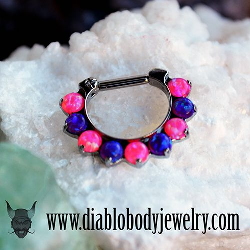 Industrial Strength Odyssey Septum Clicker with Mimosa and Sleepy Lavender Opal Fauxpals.