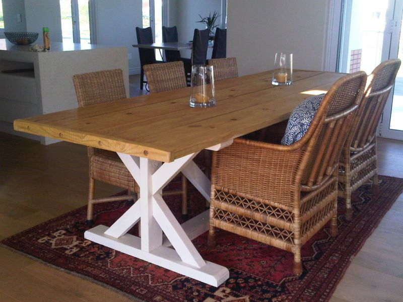 Farmhouse Dining Table With Cross Legs | French Farmhouse Dining Table 10 12  Seater |