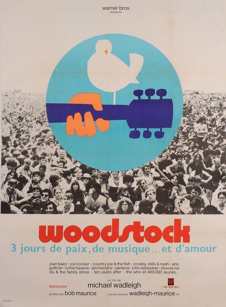 Original Vintage French Movie Poster Advertising Woodstock Music Festival 1969 Vintage Woodstock Poster Woodstock Music Woodstock