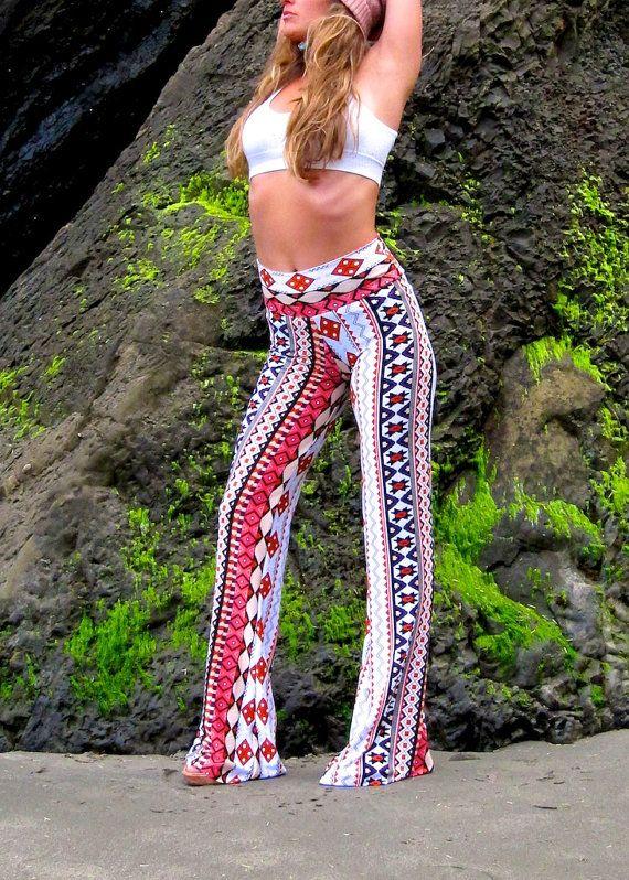 603c90a8fd2fa AZTEC TRIBAL STRIPE 70 s flare leg bell bottom fashion gypsy hippie retro  festival yoga beach lounge pants