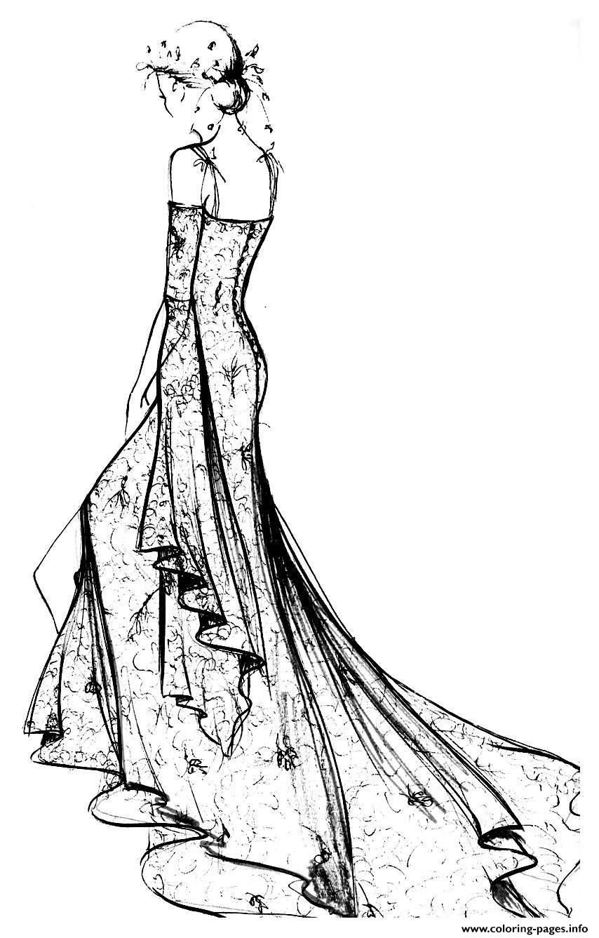 Print adult robe dentelle chantilly coloring pages   Coloring ...