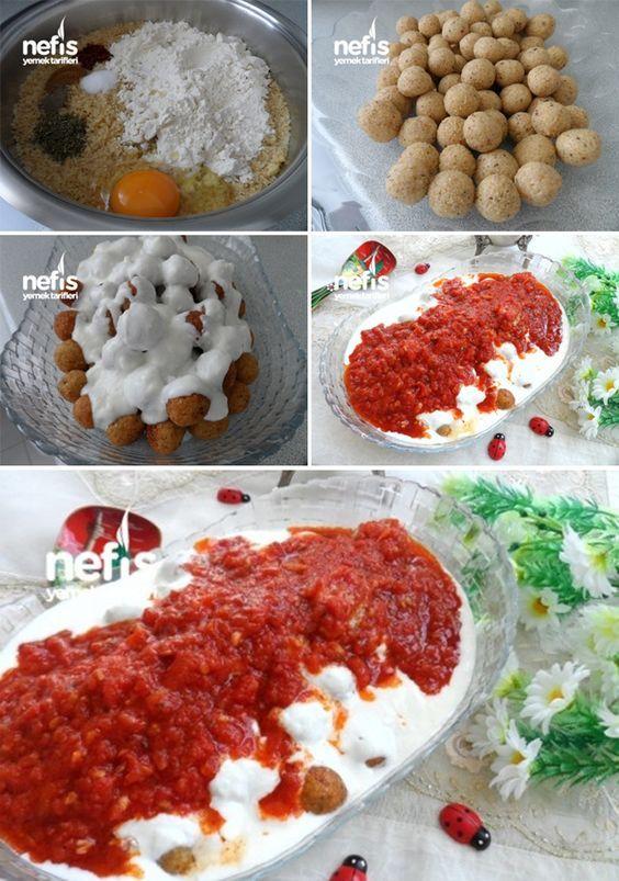 ✿ ❤ ♨ Domates Soslu Bulgurlu Köfte / Malzemeler: Köftesi için; 1 çorba kasesi köftelik bulgur, 4 yemek kaşığı tepeleme un, 1 adet yumurta, Karabiber, Kırmızı pul biber, Kuru nane, Kimyon, Tuz, Sosu için; 3 adet rendelenmiş domates, Yarım yemek kaşığı domates salçası, 2 diş sarımsak, Tuz, Kuru nane, 4-5 yemek kaşığı zeytin yağı, Sarımsaklı yoğurt.