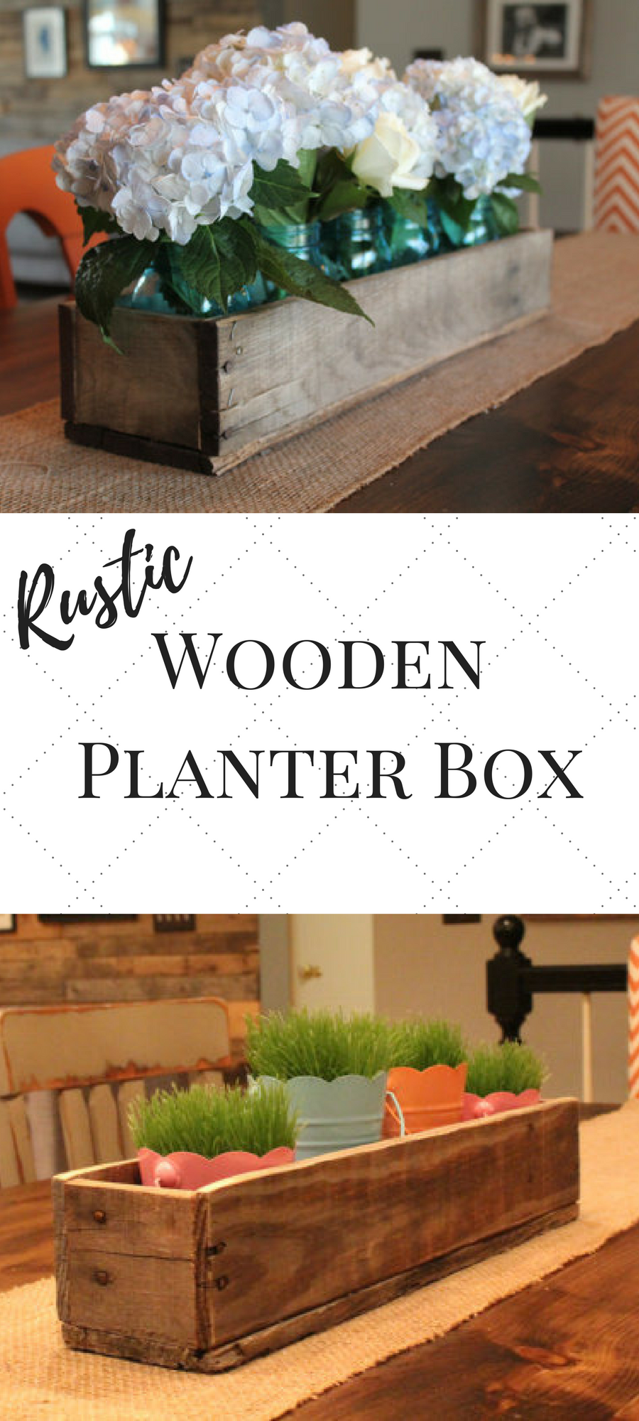 Love This Rustic Wooden Planter Box Would Look Great On My Runner On My Table Farmhouse Farmhousestyle Dinin Planter Boxes Wood Planter Box Wood Planters
