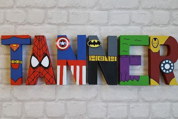 Superhero Letters Personalized Hand Painted Papier Mache Etsy In 2021 Superhero Letters Kid Names Hand Painted