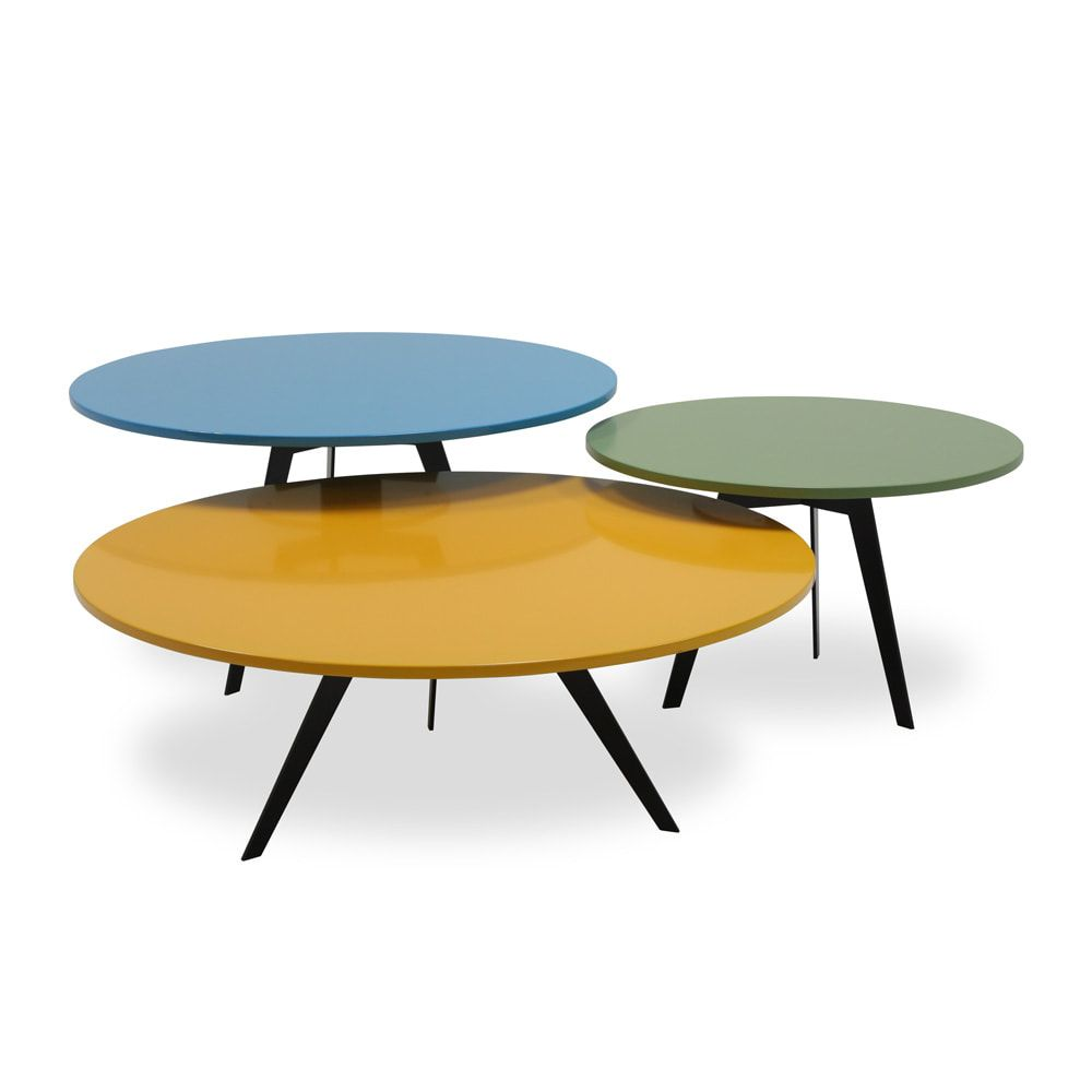 Msj coffee table set designed by mike loh for michael strads a unique set of colorful and stylish coffee table set on tripods these tables can be combined