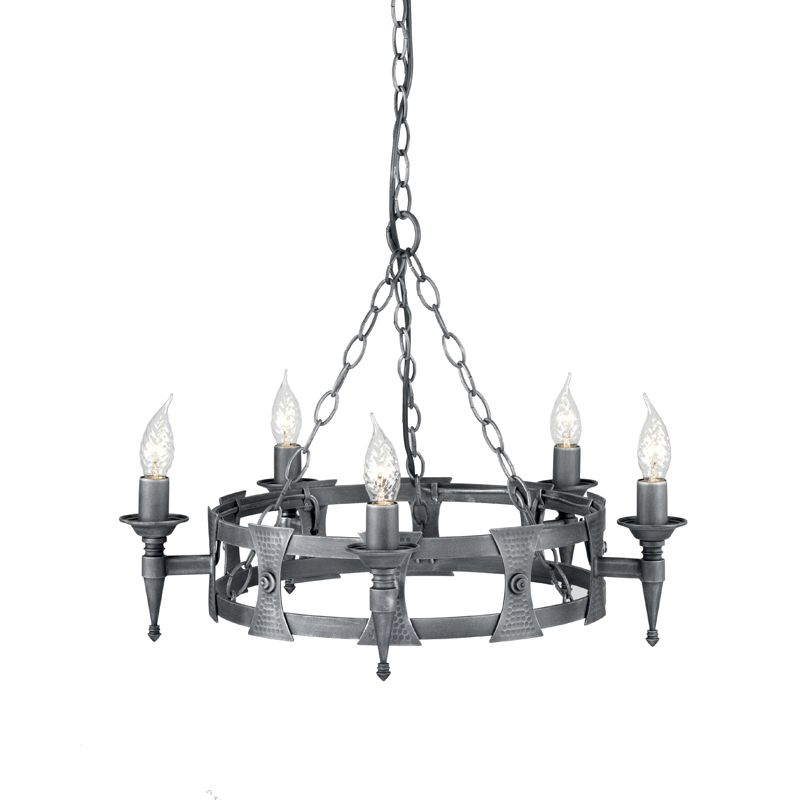 Chaucer 5-Light Chandelier in Black and Silver 1