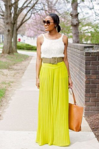 lime pleated palazzo pants look-What to wear with palazzo pants ...