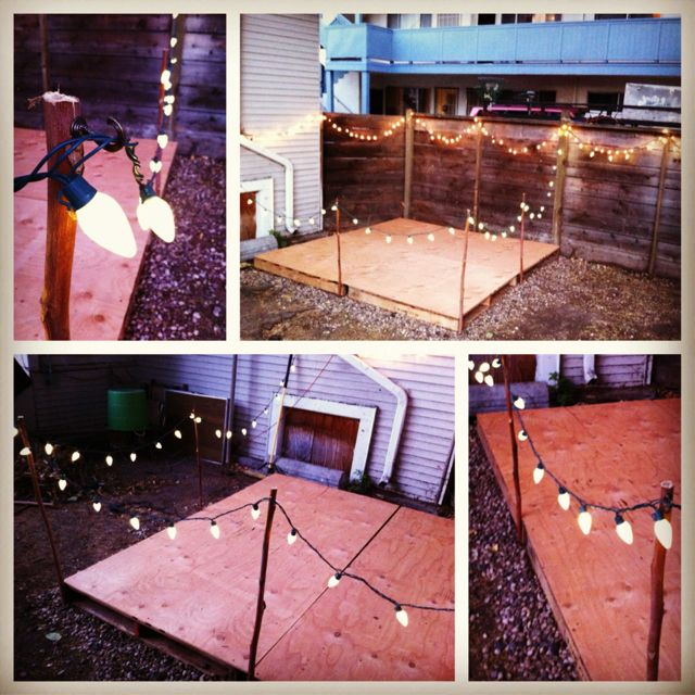 DIY Backyard Stage With Lights