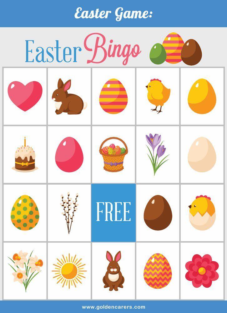 Easter Bingo For Senior Care Work Activites Easter Bingo Easter