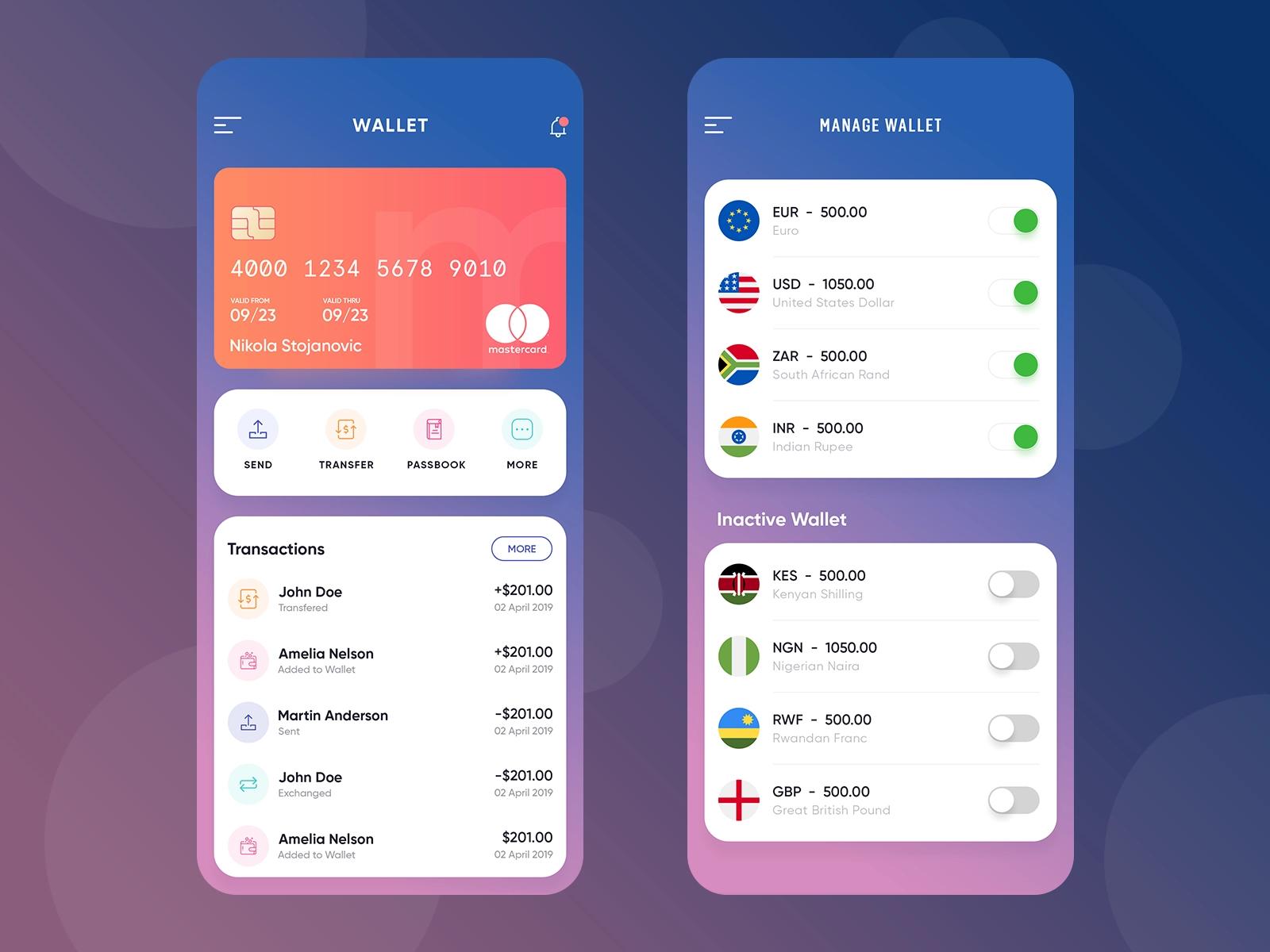Wallet App App, Android app design
