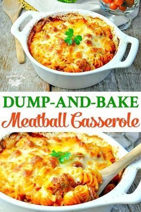 Just 5 ingredients for this easy Dump-and-Bake Meatball Casserole -- and you don't even have to boil the pasta! Easy Dinner Recipes