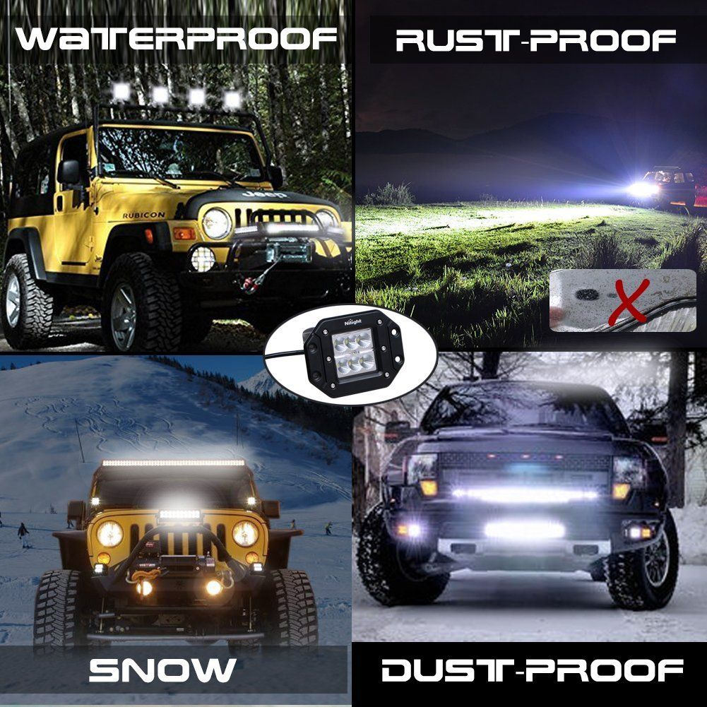 Nilight 2pcs 18w flood led work lights jeep light bar off road light nilight 2pcs 18w flood led work lights jeep light bar off road light led light bar mozeypictures Gallery