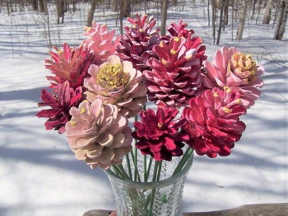 Photo of Pine Cone Flowers.  Creamsicle-Inspired.  ONE DOZEN Painted Pine Cones,  on 12-inch Wood Stems.  Bouquet.  Gifts for women.