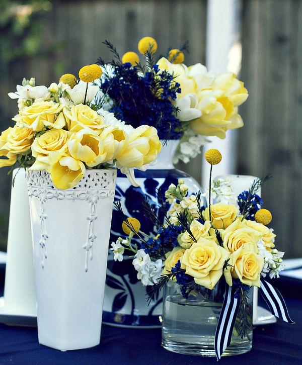Yellow Wedding Flowers Ideas: Blue And Gold Watercolor Inspiration Turned Real-Life Vow