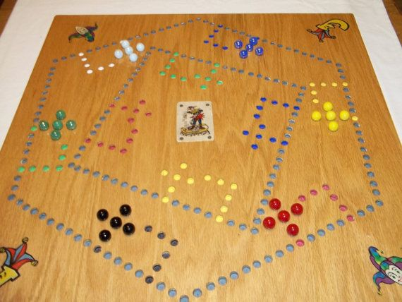 Pegs And Jokers And Marbles 4 6 Player Board With Etsy In 2020 Pegs And Jokers Wooden Games Marble Games