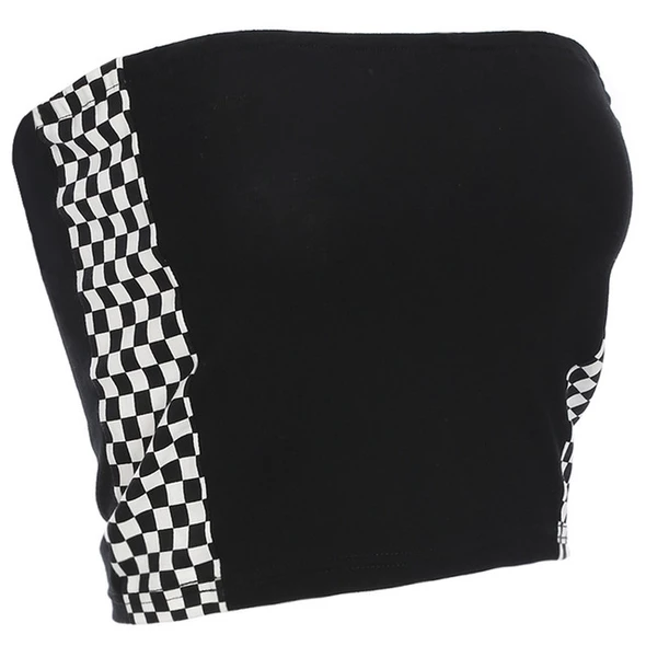 Checkerboard Crop Top Black White Crop Top 2018 Fashion Trendy Sexy Strapless shirt Sleeveless Bandeau Wrap Chest Crop Top