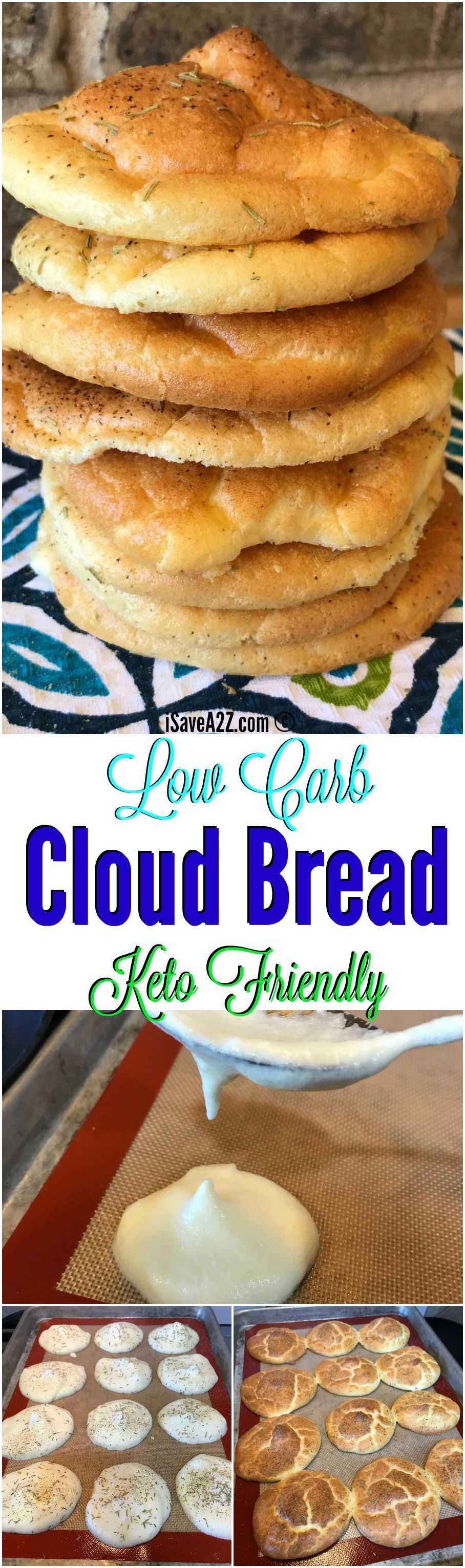 Low Carb Cloud Bread Recipe Made with Baking Soda and a keto friendly recipe!